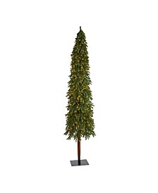 Grand Alpine Artificial Christmas Tree with 600 Clear Lights and 1183 Bendable Branches on Natural Trunk