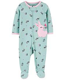 Baby Girls Bunny 2-Way Zip Cotton Sleep and Play One Piece