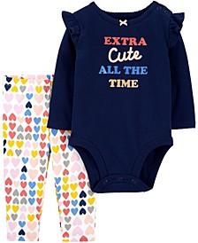 Baby Girls 2-Piece Extra Cute Bodysuit Pant Set