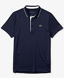 Men's SPORT Short Sleeve Stretch Jersey Polo Shirt with Side Lacoste Lettering