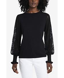 Women's Paisley Lace Sleeve Sweater