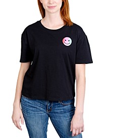Juniors' Smiley Face Graphic T-Shirt