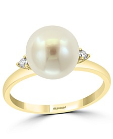 EFFY® Cultured Freshwater Pearl (9mm) & Diamond (1/20 ct. t.w.) Ring in 14k Gold