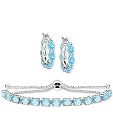 2-Pc. Set Blue Topaz Small Hoop Earrings and Bolo Bracelet (10 ct. t.w.) in Sterling Silver (Also in Amethyst, Peridot, Rhodolite Garnet & Multi-Stone)