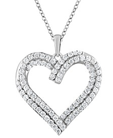 "Diamond Heart 18"" Pendant Necklace (1 ct. t.w.) in 10k White Gold"