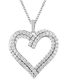 "Diamond Heart 18"" Pendant Necklace (1 ct. t.w.) in 10k White Gold"