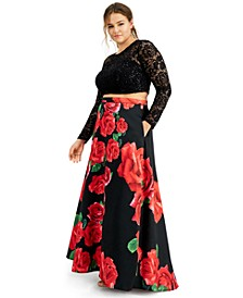 Trendy Plus Size 2-Pc. Lace & Floral-Print Dress, Created for Macy's