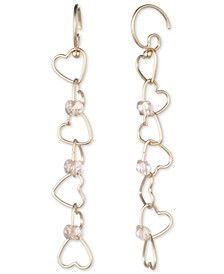 Gold-Tone Bead-Accent Linked Heart Linear Drop Earrings