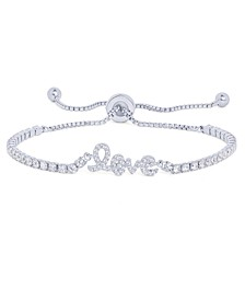 Cubic Zirconia 'Love' Adjustable Bolo Bracelet in Fine Silver Plated