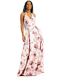 Juniors' Halter Floral-Print Gown, Created for Macy's