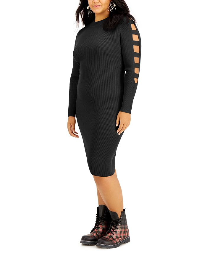FULL CIRCLE TRENDS - Trendy Plus Size Ladder-Sleeve Sweater Dress