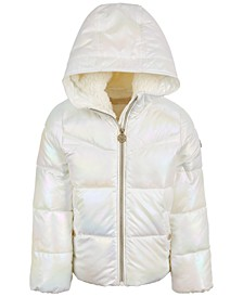 Little Girls Unicorn Iridescent Puffer Coat