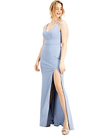 Juniors' Glitter Lace-Back Slim Gown