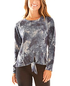 Juniors' Tie-Dye Tie-Hem Top