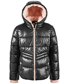 Big Girls' Hooded Puffer Jacket With Faux-Fur Lining