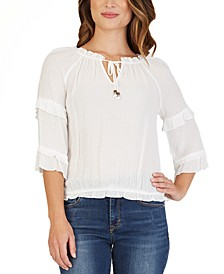 Juniors' Ruffle-Trimmed Tie-Front Blouse