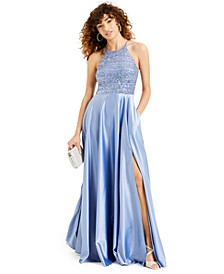 Juniors' Sequin Satin Halter Gown, Created for Macy's