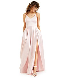 Juniors' V-Neck Satin Gown, Created for Macy's