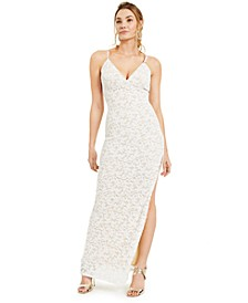 Juniors' Slim Allover-Lace Side-Slit Gown