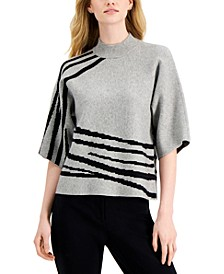 Petite Printed Kimono-Sleeve Sweater, Created for Macy's