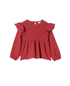 Little Girls Ruby Long Sleeve Shirred Top