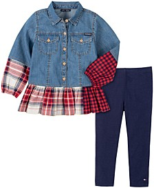 Little Girls 2 Piece Denim with Two Toned Plaid Tunic and Legging Set