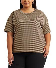 Plus-Size Double-Knit Jacquard T-Shirt