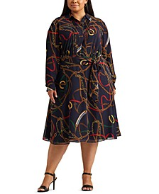 Plus-Size Print Georgette Shirtdress
