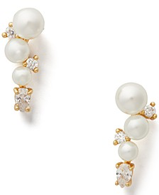Gold-Tone Crystal & Imitation Pearl Climber Earrings