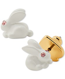 Gold-Tone Pavé Bunny Stud Earrings