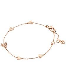 Gold-Tone Pavé Heart Link Bracelet