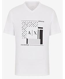 Men's Short Sleeve V-Neck Geometric Pattern T-Shirt