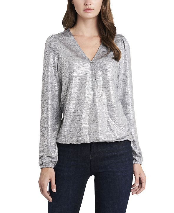 Vince Camuto Women's Fold-over Front Lurex Jersey Top