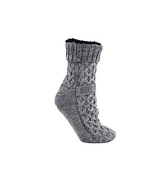 Women's Argon Infused Fuzzy Non-Skid Slipper Knitted Socks, 2 Pieces