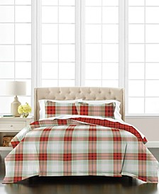 Plaid Percale 3-Piece Full/Queen Comforter Set, Created for Macy's