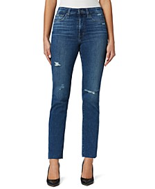 High-Rise Straight-Leg Ankle Jeans
