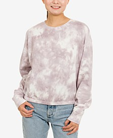 Juniors' Tie-Dye Banded-Hem Sweatshirt