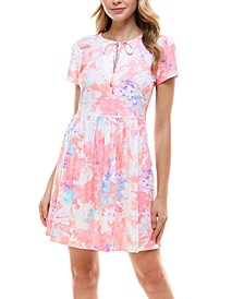 Juniors' Tie Dye Fit & Flare Dress