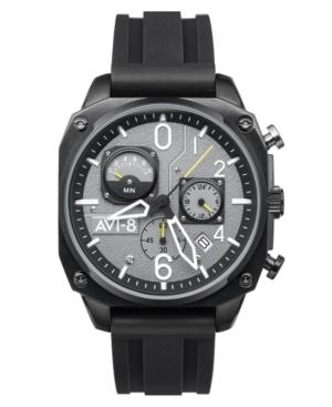 Men's Hawker Hunter Retrograde Chronograph Tactical Black Rubber Strap Watch