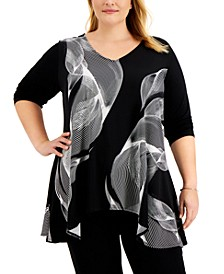 Plus Size V-Neck Printed Swing Top, Created for Macy's
