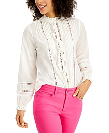 Cotton Ruffled Lace-Trim Blouse, Created for Macy's