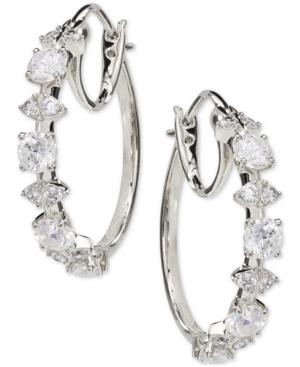 Medium Cubic Zirconia Shield Hoop Earrings