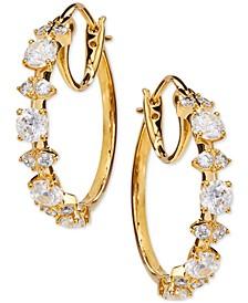 """Medium Cubic Zirconia Shield Hoop Earrings, 1"""", Created for Macy's"""