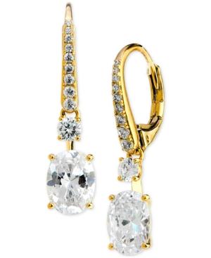 Cubic Zirconia Oval Drop Earrings
