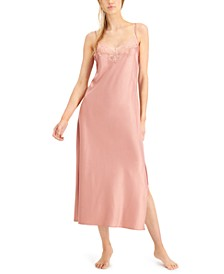 INC Lace-Trim Slip Dress Nightgown, Created for Macy's