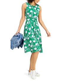 Petite Floral-Print Belted Dress, Created for Macy's