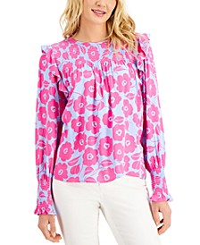 Petite Printed Smocked Blouse, Created for Macy's