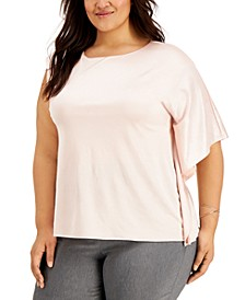 Plus Size One-Shoulder Flutter-Sleeve Top, Created for Macy's