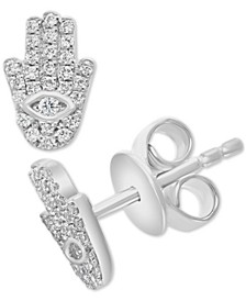 EFFY® Diamond Hamsa Hand Stud Earrings (1/6 ct. t.w.) in Sterling Silver