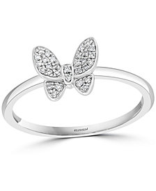 EFFY® Diamond Butterfly Promise Ring (1/10 ct. t.w.) in Sterling Silver
